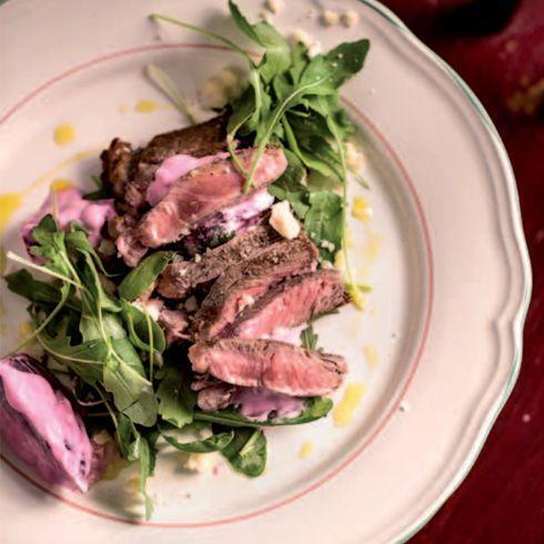 Steak z nízkej roštenky, purpurová repa & rukola